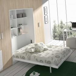 Cama abatible vertical con estantería interior para colchón de 135/150 fondo 43