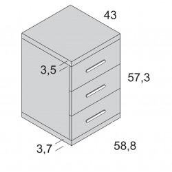 Mesita 3 cajones ROS 58 cm.