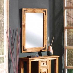 Espejo en madera barnizado...