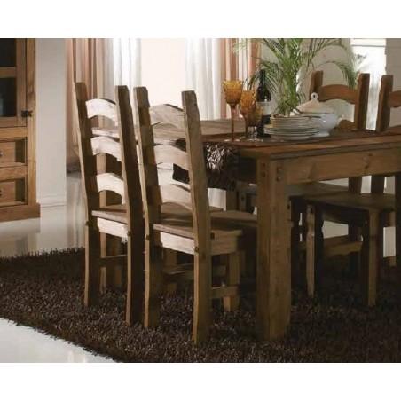 Comedor rústico mesa extensible con sillas