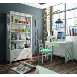 Mesa de estudio con librería