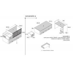 Composición armario y cuna convertible a dos camas nido